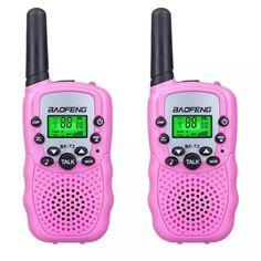 Акция на Комплект из двух портативных раций Baofeng BF-T3 Розовая, UHF, 3 Вт + Ремешок на шею Mirkit розовый от Allo UA