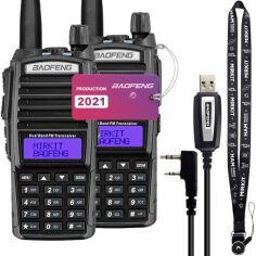 Акция на Рация Baofeng UV-82 MK5, UHF/VHF, комплект 2 шт., 8 Вт, 3800 мАч + Кабель Mirkit для программирования + Ремешок на шею Mirkit черный от Allo UA