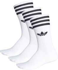 Акция на Набор носков Adidas Solid Crew Sock S21489 35-38 3 пары White/Black (4055012755574) от Rozetka