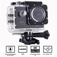 Акция на Водонепроницаемая 4К экшн-камера Action Camera S2 Pro Wi Fi   Видеокамера с боксом и креплениями от Allo UA