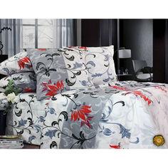 Акция на Комплект постельного белья Еней-Плюс Полуторный Т0461 белый, серый, красный от Allo UA