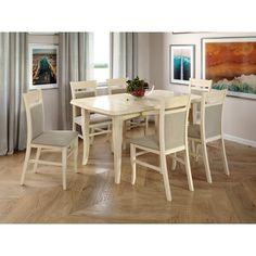 Акция на Комплект обеденный раскладной Arbordrev стол Оскар (2 вставки) Слоновая кость + 6 стульев Даниэль 2 бук Слоновая кость+Etna 15 от Allo UA