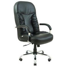 Акция на Офисное Кресло Руководителя Bufford Кожа Комбо Люкс Хром М3 MultiBlock Черное от Allo UA