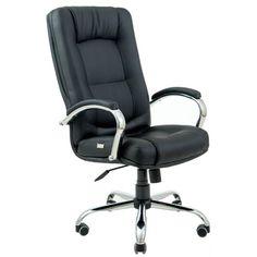 Акция на Офисное Кресло Руководителя Alberto Кожа Люкс Хром М2 AnyFix Подлокотник Труба Черное от Allo UA