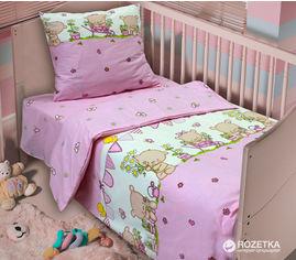 Акция на Комплект постельного белья Блакит Бязь 112х147 (40х60) Мишутки Розовый (2828_4530,01) от Rozetka