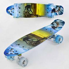 Акция на Скейт Пенни Борд маленький Лонгборд Best Board F 3270 Original для фрирайда, доска 55 см, колеса полиуретановые d = 6 см светящиеся Разноцветный (74535) от Allo UA