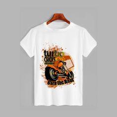 Акция на Футболка Likey Turbo bike M150-1742 XXL Белая (2000000147062) от Rozetka