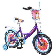 Акция на Детский велосипед TILLY Fluffy 14 (T-214213) фиолетовый с голубым от Allo UA