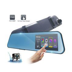Акция на Автомобильный видеорегистратор-зеркало UKC 1031 LCD 4.3 2 камеры 1080P Full HD от Allo UA