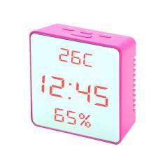 Акция на Часы сетевые VST-887Y-1 розовые температура влажность USB от Allo UA