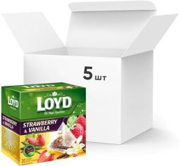 Акция на Упаковка ягодного чая Loyd Клубника и ваниль 5 пачек по 20 пакетиков (5900396022458) от Rozetka