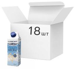 Акция на Упаковка каши молочной жидкой Селянська Овсяная ультрапастеризованная 2.5% жира 750 г х 18 шт (4820003489550) от Rozetka