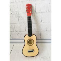 Акция на Детская игровая деревянная Гитара 6-ти струнная с медиатором и запасной металлической струной, 52 см, Natural от Allo UA