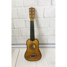 Акция на Детская игровая деревянная Гитара 6-ти струнная с медиатором и запасной металлической струной, 52 см, Brown от Allo UA