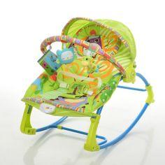 Акция на Детский Шезлонг Качалка Колыбель, виброрежим, дуга с подвесными игрушками, музыкальный мобиль арт. 306-5 от Allo UA