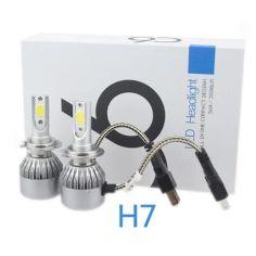 Акция на C6 Лампа светодиодная цоколь H7 (к-кт 2 шт) 12/24V, 36W, 3800Lm + вентилятор (авиац. алюмин.) от Allo UA