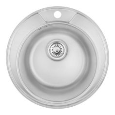 Акция на Раковина на кухню металлическая круглая COSH COSH7104P08 490мм x 490мм глянцевая 0.8мм 61987 от Allo UA