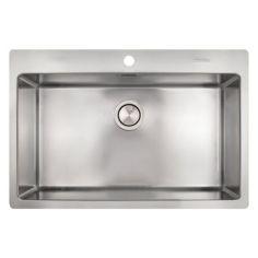 Акция на Кухонная мойка нержавейка прямоугольная APELL LNP77FBC 770мм x 510мм матовая 0,8мм с сифоном 62755 от Allo UA