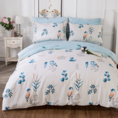 Акция на Комплект постельного белья Голубая птица (полуторный) Berni Home Голубой (45238) от Allo UA