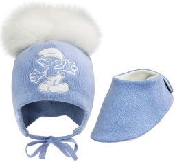 Акция на Зимний комплект (шапка + слюнявчик (шарф) David's Star 1935 40 см Голубой (ROZ6400021829) от Rozetka