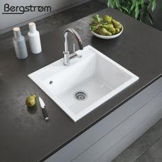 Акция на Гранитная кухонная мойка 510x565, Bergstroem, белая от Allo UA