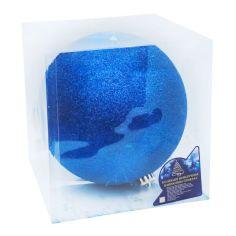 Акция на Ёлочный шарик с блестками диаметр 20 см. 1 шт. в коробке синий от Allo UA