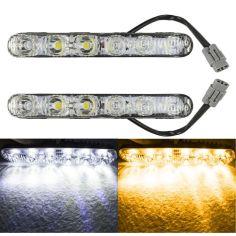 Акция на LED ДХО + моргающий поворот. Супер качество, металлический корпус! 12В. Светодиодные дневные ходовые огни. от Allo UA