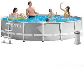Акция на Intex Каркасный бассейн 26724, 457 х 107 см (3 785 л/ч, лестница, тент, подстилка) от Stylus