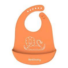 Акция на Нагрудник детский Bestbaby BS-8807 Лев Orange слюнявчик силиконовый с карманом от Allo UA