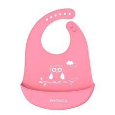 Акция на Нагрудник детский Bestbaby BS-8807 Сова Pink слюнявчик силиконовый с карманом от Allo UA