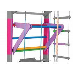 Акция на Съемный Турник для Шведской стенки и Спортуголка для детей, цветной, нагрузка до 60 кг, бук, фанера 80х65 см от Allo UA
