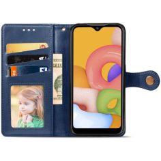 Акция на Кожаный чехол книжка GETMAN Gallant (PU) для Xiaomi Redmi 9A Синий от Allo UA