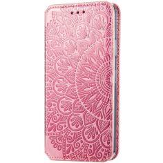 Акция на Кожаный чехол книжка GETMAN Mandala (PU) для Samsung Galaxy S20 FE Розовый от Allo UA