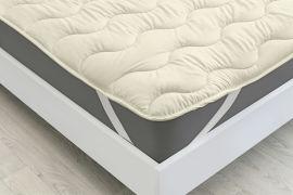 Акция на Наматрасник с шелковым наполнителем 1726 Eco Light Cream Silk Mirson на резинках по углам 120х190 см от Podushka