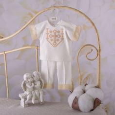 Акция на Костюм для крещения для мальчика Чарівний Янгол Бетис молочный с золотом короткий рукав 68 от Podushka