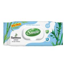 Акция на Влажные салфетки Smile с экстрактом бамбука 120 шт 42224370 ТМ: Smile от Antoshka