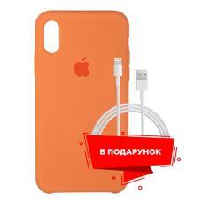 Акция на Чехол для Apple iPhone XS/X Papaya + кабель Lightning (ARS54864) от Allo UA