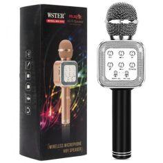 Акция на Беспроводной микрофон WSTER WS-1818 | караоке Bluetooth USB, для дома, с динамиками, портативный ЧЕРНЫЙ от Allo UA