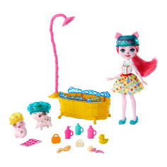 Акция на Кукольный набор Enchantimals Время для купания Поросята Петя Штрейзель и Ниша (GJX36) от Будинок іграшок