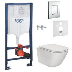 Акция на Комплект инсталляция Grohe 38772001 + унитаз Gap Rimless A34H470000 с сидением Soft Close Slim, Белый от Allo UA