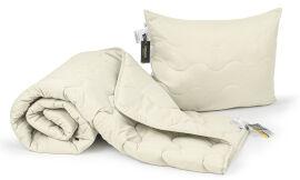 Акция на Набор антиаллергенный всесезонный EcoSilk 1659 Eco Light Cream одеяло и подушка MirSon 155х215 см от Podushka
