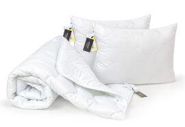 Акция на Набор антиаллергенный всесезонный EcoSilk 1660 Eco Light White одеяло и две подушки MirSon 155х215 см от Podushka