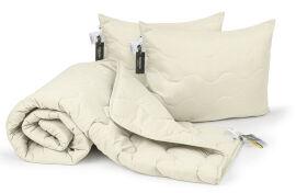 Акция на Набор шелковый всесезонный 1692 Eco Light Cream одеяло и две подушки MirSon 220х240 см от Podushka