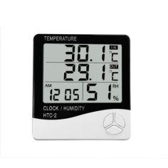 Акция на Метеостанция, Часы, Гигрометр, Влагометр Generic HTC-2 и выносной датчик (44412-IM) от Allo UA