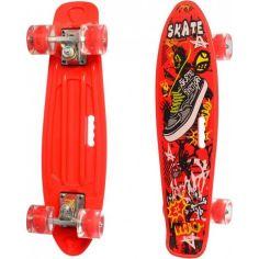 Акция на Пенни Борд Скейт маленький Лонгборд с ручкой Best Board MS0749-6 Original для фрирайда, доска 55 см, колеса полиуретановые d = 6 см светящиеся Red (74580) от Allo UA