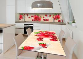 Акция на Виниловая 3D наклейка на стол Zatarga Алые фрукты 600х1200 мм (Z182608st) от Rozetka