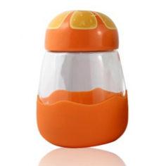 Акция на Термокружка из стекла в силиконвой защите с крышкой Fruits апельсин от Allo UA