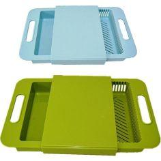 Акция на Разделочная доска на мойку для кухни, доска для мытья и шинковки овощей 37х24х5 см Supretto от Allo UA