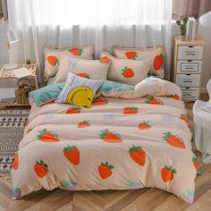 Акция на Комплект постельного белья Цветущая клубника (полуторный) Berni Home Зеленый (53055) от Allo UA