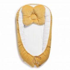 Акция на Кокон для новорожденных Twins Velvet 9064 с подушкой Желтый/Белый от Allo UA